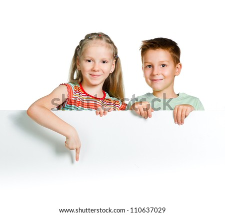 cute kids with white board