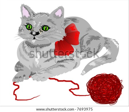 Cute kitten laying down with a ball of yarn. White background is on a work path. Drawn without the aide of a tablet.