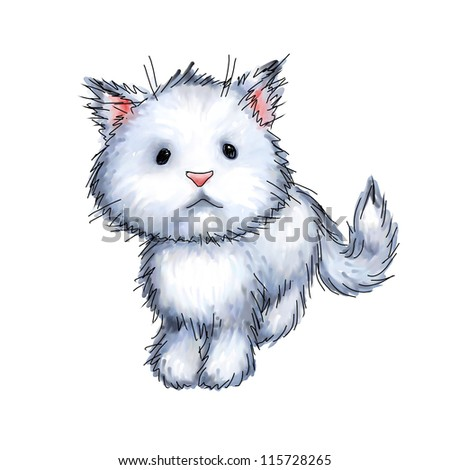 cute kitten on white background