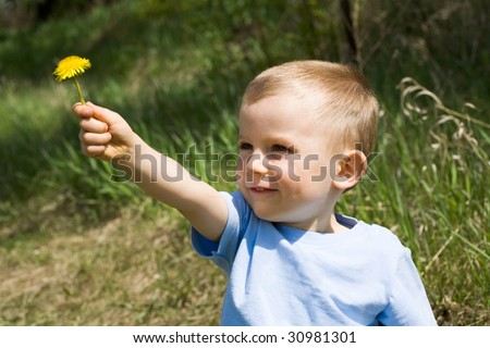 Cute lad giving yellow dandelion to somebody on background of green grass