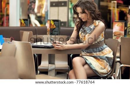 cute lady making a call