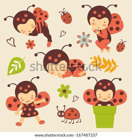 Cute ladybug babies set #167487107