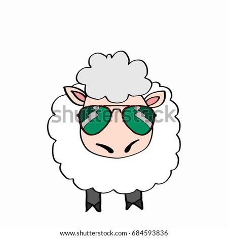 cute lamb and sunglasses  Stok fotoğraf ©