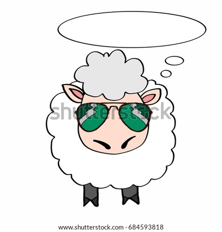 cute lamb and sunglasses and thinking balloon Stok fotoğraf ©