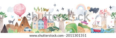Cute landscape, hills, trail, lonely house, mountains, lake and ship, clouds and ballon, cars. Watercolor illustration. Children's horizontal poster. Horizontal border. Seamless pattern.