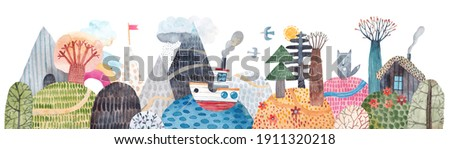 Cute landscape, hills, trail, lonely house, mountains, lake and ship, clouds and rainbow. Watercolor illustration. Children's horizontal poster. Horizontal banner.