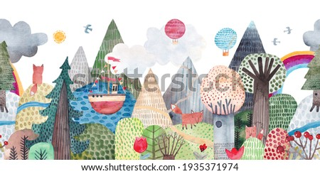 Cute landscape with a lake, trees and mountains. Repeating watercolor pattern. Horizontal repeating border.