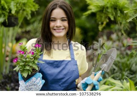Cute latin gardener ready for work