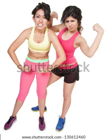 Cute Latina sisters flexing muscles over white background