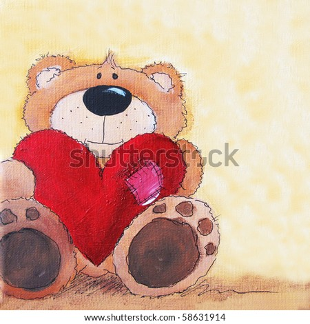 Cute littel teddy bear with big red heart in hands. Art is painted and created by photographer.