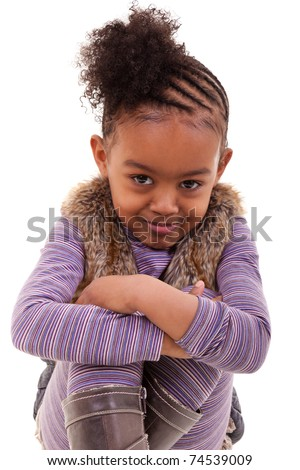 cute little african american girl angry