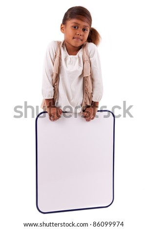 Cute little african american girl holding a whiteboard, isolated on white background