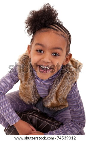 cute little african girl smiling
