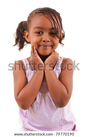 cute little african girl smiling isolated on white background