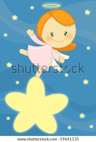 Cute Little Angel Girl Standing On A Bright Star Stock Photo 59641135