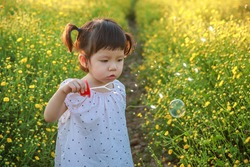 Cute little asian girl is blowing a soap bubbles in the field of yellow flowers in a sunny summer evening with copy space