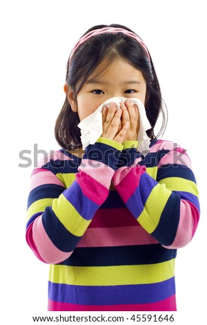 Cute little Asian girl with the flu - isolated over white