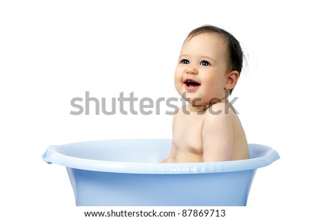 cute little baby bathed in a bath