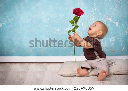 cute Little Baby Boy giving away a red rose - valentine\'s day concept