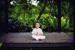 cute little baby boy, kid meditating in rainy forest park, sitting on wooden decks