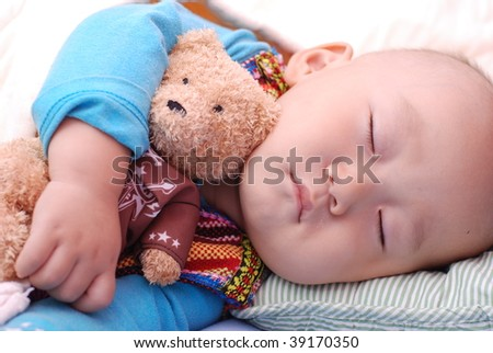 cute little baby boy sleeping quietly