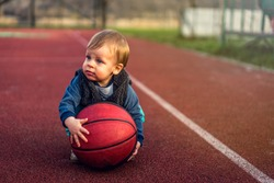 Cute little baby boy youngest basketball player in the world