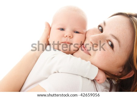 Cute little baby embrace his mother, isolated over white