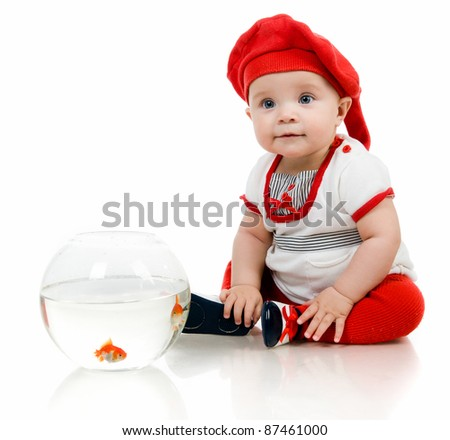 Cute little baby fishing  on white background