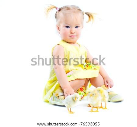 Cute Baby Girl in Yellow Dress Cute Little Baby Girl in a