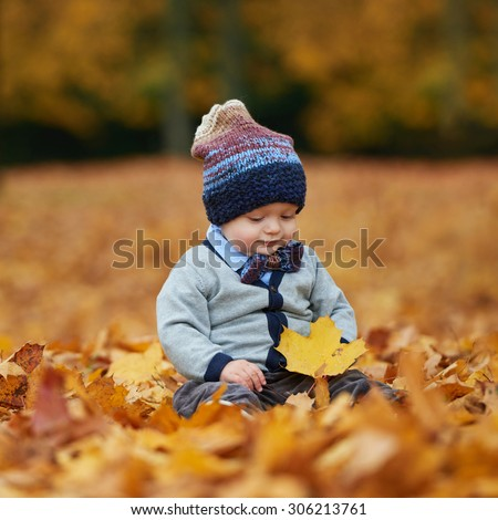 cute little baby in autumn park with yellow leaves
