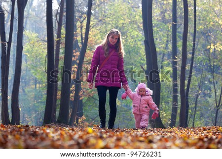Cute little baby with mother in park