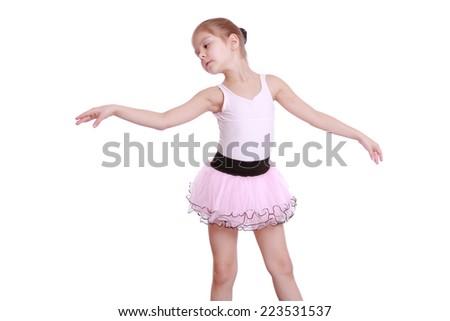 26db284b46bd Cute little ballerina wearing lovely tutu dancing like a swangirl on ...