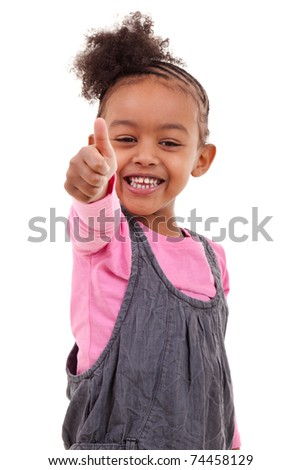 Cute little black girl making thumbs up