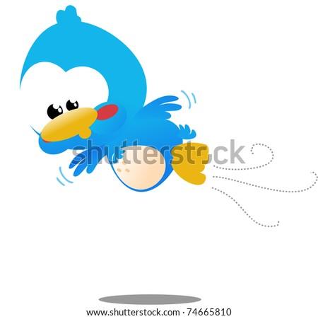 Cute little blue toon bird icon