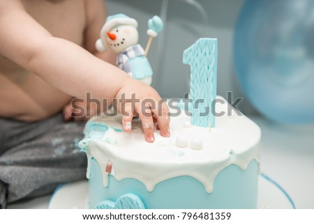 Cute Little Boy Eating His First Birthday Cake Baby Smash For
