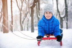 Cute little boy enjoying sleigh ride outdoors on winter day, space for text