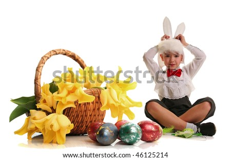 cute little boy in a rabbit costume on white