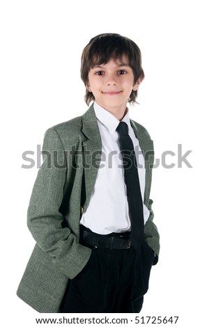 Cute little boy in bussiness style on white background