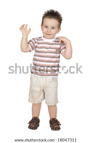 Cute little boy isolated on white background - stock photo