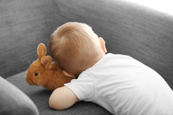 Cute little boy playing with funny rabbit at home