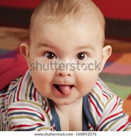 cute little boy portrait on colorful background #168892076
