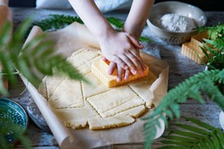 Cute little boy's hands holding a cookie cutter and cutting out cookies from raw dough with fern leaves pattern. Cooking by children concept