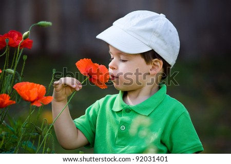 Cute little boy smells a wild flower
