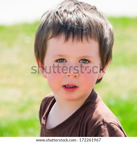 Cute little boy takes a break from playing outside to get his picture taken.