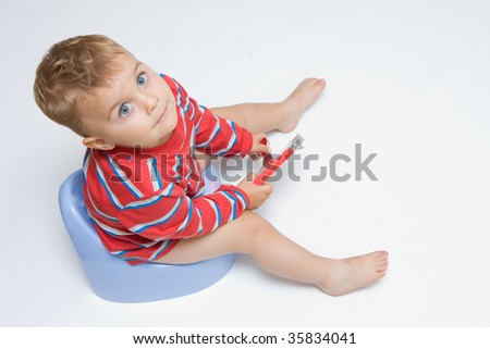 cute, little boy while potty training