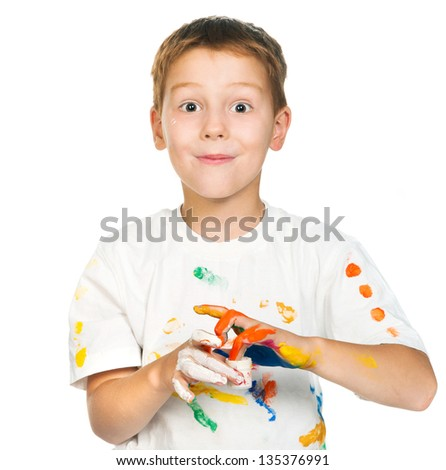 cute little boy with paints isolated on white background