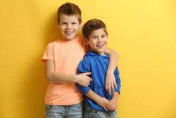 Cute little brothers standing on yellow background