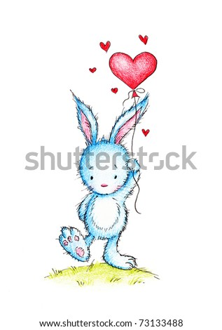Cute little bunny with red heart balloon on white background