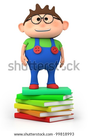 cute little cartoon boy standing on stack of books - high quality 3d illustration