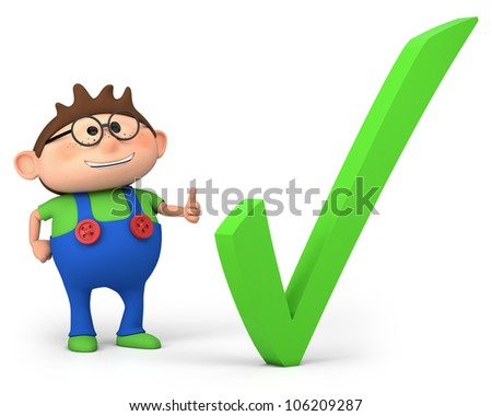 cute little cartoon boy with check mark - high quality 3d illustration